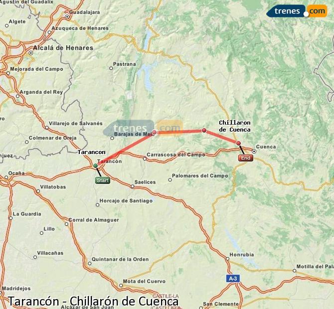 Enlarge map Trains Tarancon to Chillarón de Cuenca