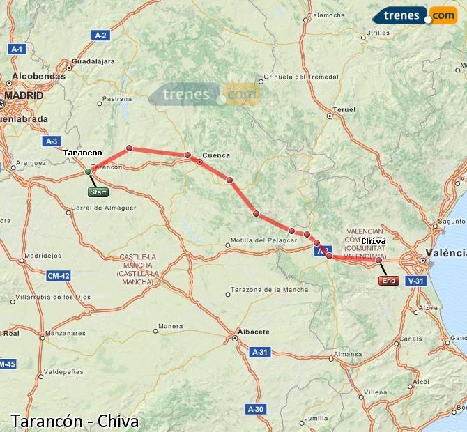 Ingrandisci la mappa Treni Tarancón Chiva