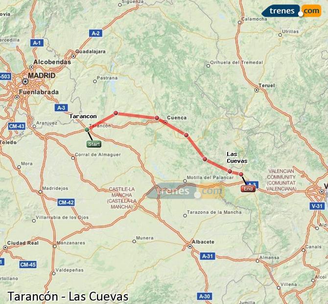 Enlarge map Trains Tarancon to Las Cuevas