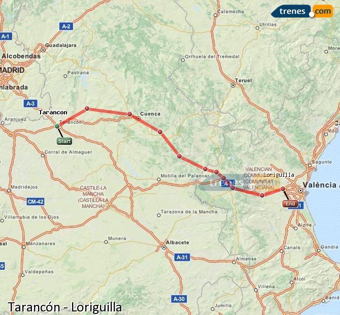 Enlarge map Trains Tarancon to Loriguilla