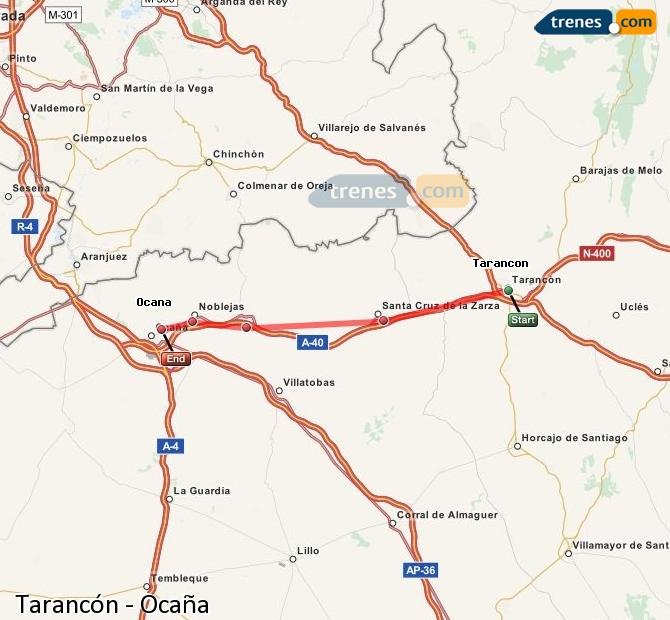 Enlarge map Trains Tarancon to Ocaña