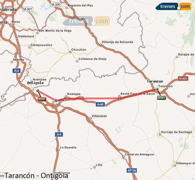 Enlarge map Trains Tarancon to Ontígola