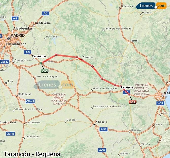 Enlarge map Trains Tarancon to Requena