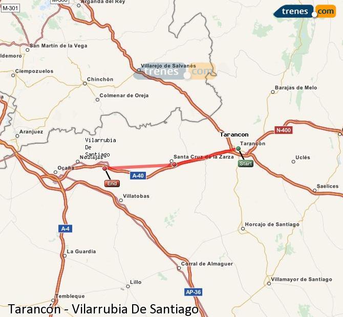 Agrandir la carte Trains Tarancón Vilarrubia De Santiago