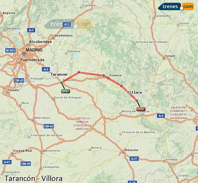 Karte vergrößern Züge Tarancón Víllora