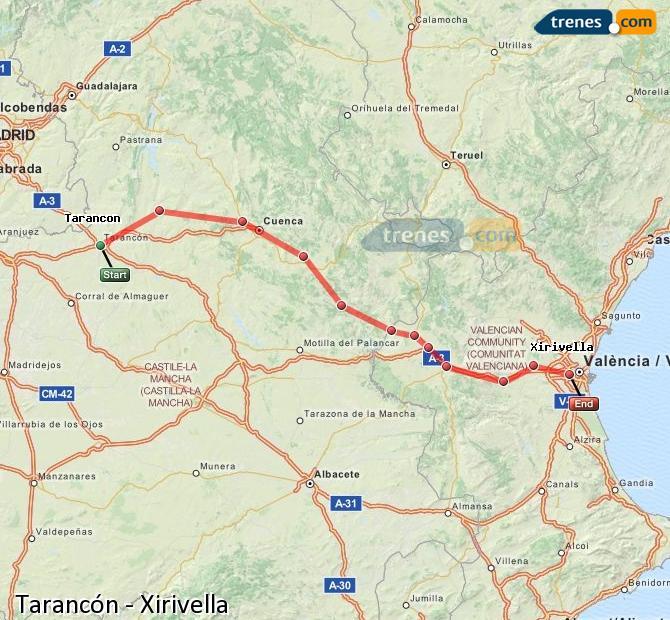 Enlarge map Trains Tarancon to Xirivella