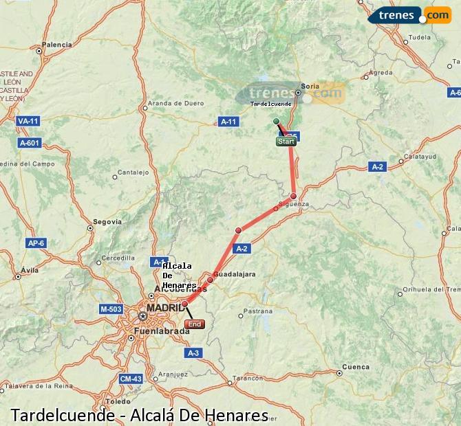 Agrandir la carte Trains Tardelcuende Alcalá De Henares