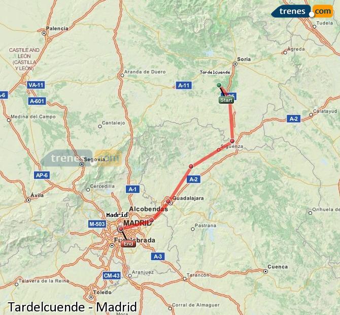 Agrandir la carte Trains Tardelcuende Madrid
