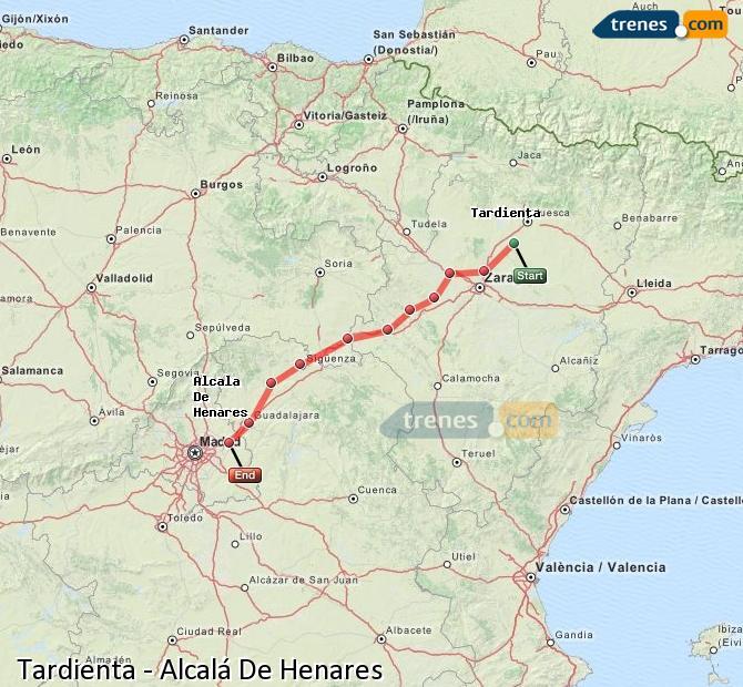 Enlarge map Trains Tardienta to Alcalá De Henares