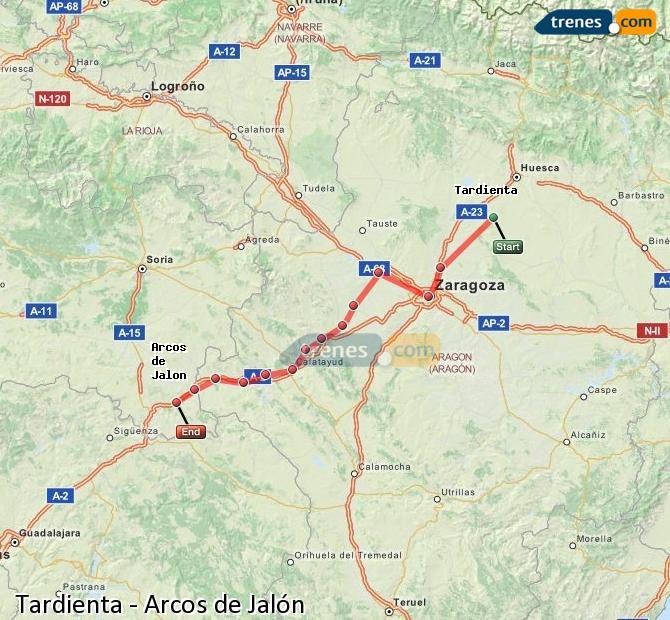 Agrandir la carte Trains Tardienta Arcos de Jalón