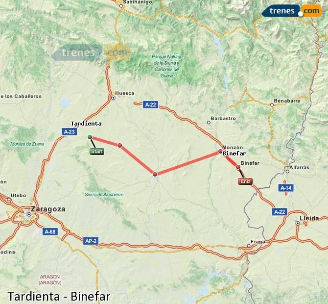 Karte vergrößern Züge Tardienta Binefar