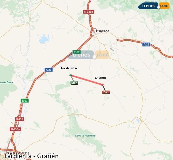 Karte vergrößern Züge Tardienta Grañén