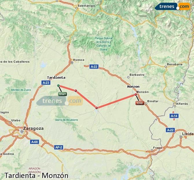 Agrandir la carte Trains Tardienta Monzón