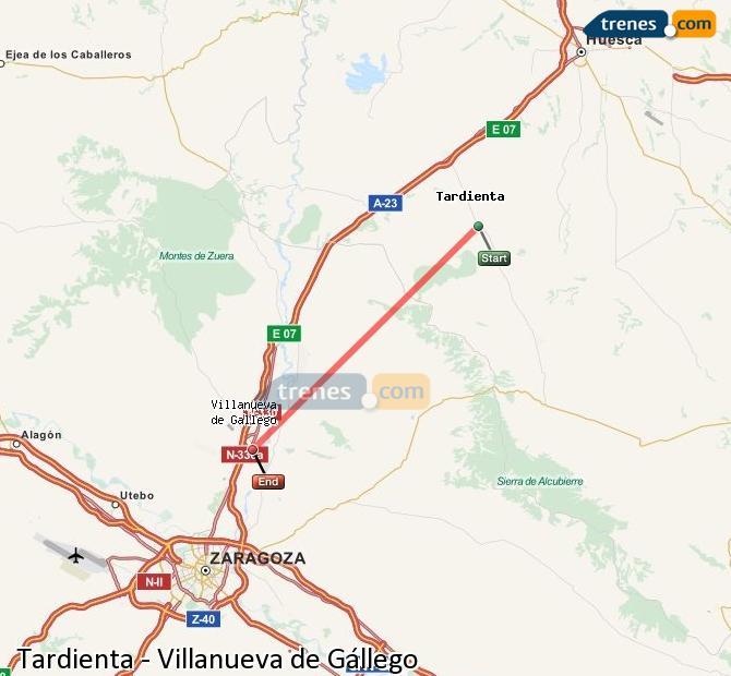 Karte vergrößern Züge Tardienta Villanueva de Gállego