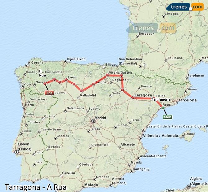 Enlarge map Trains Tarragona to A Rua