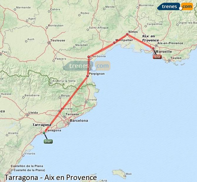 Karte vergrößern Züge Tarragona Aix en Provence