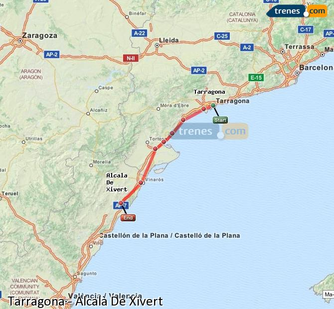 Enlarge map Trains Tarragona to Alcalà De Xivert