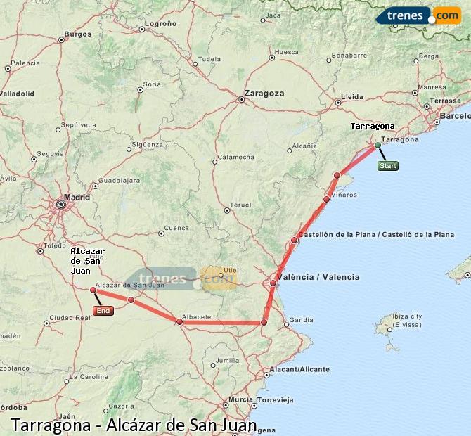 Ingrandisci la mappa Treni Tarragona Alcázar de San Juan