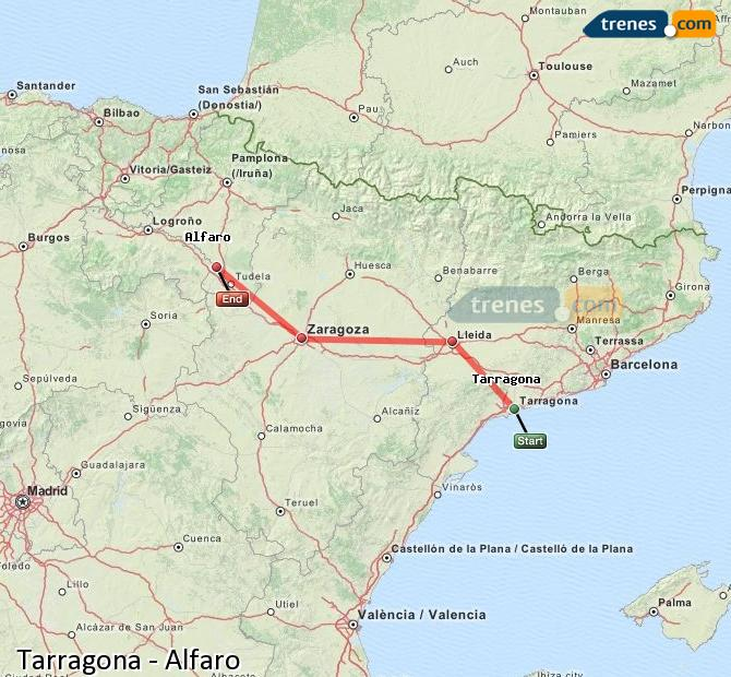 Enlarge map Trains Tarragona to Alfaro
