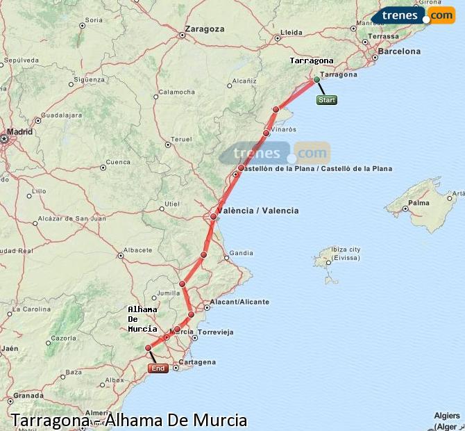 Agrandir la carte Trains Tarragone Alhama De Murcia