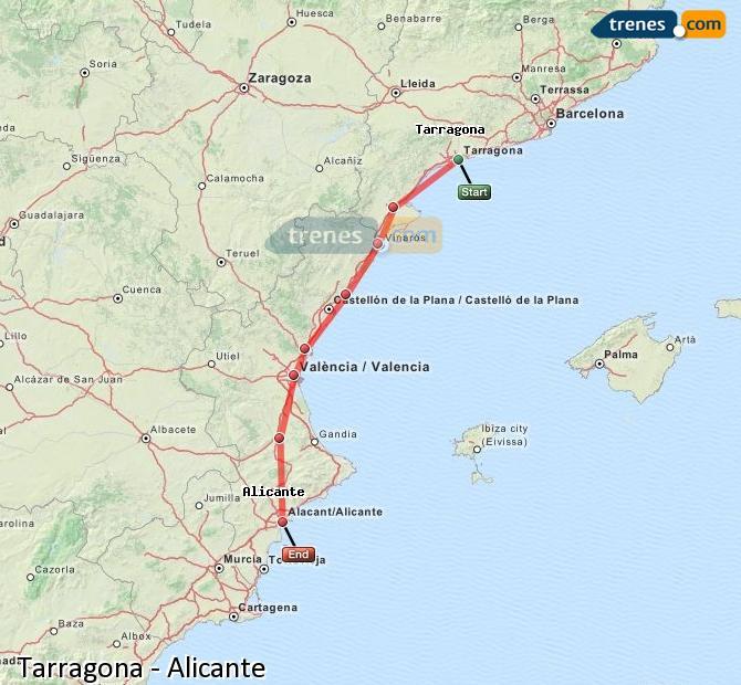 Enlarge map Trains Tarragona to Alicante