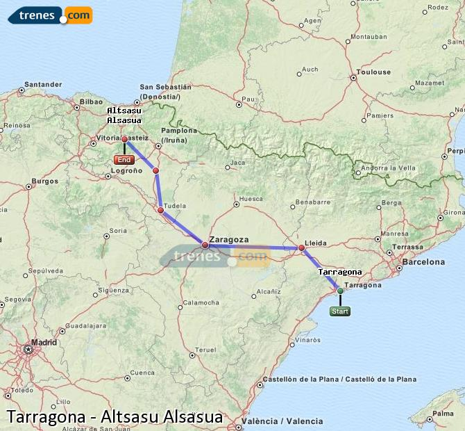 Agrandir la carte Trains Tarragone Altsasu Alsasua