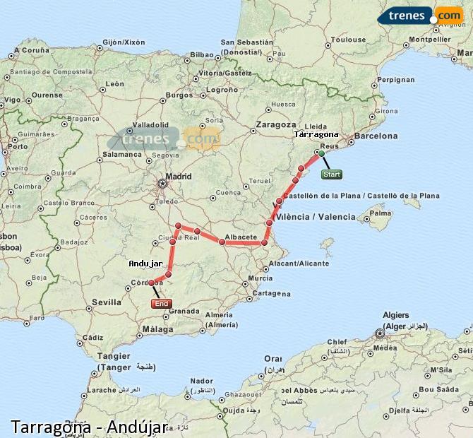 Enlarge map Trains Tarragona to Andújar