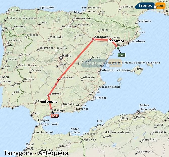 Enlarge map Trains Tarragona to Antequera