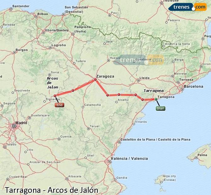 Ingrandisci la mappa Treni Tarragona Arcos de Jalón