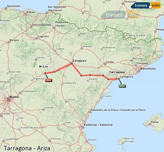 Agrandir la carte Trains Tarragone Ariza