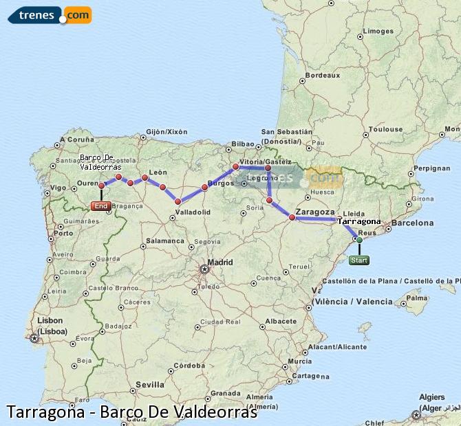 Karte vergrößern Züge Tarragona Barco De Valdeorras