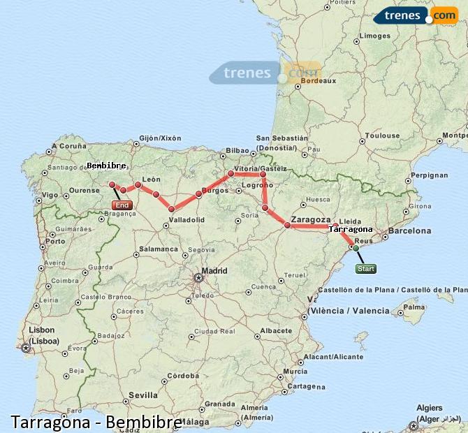 Agrandir la carte Trains Tarragone Bembibre