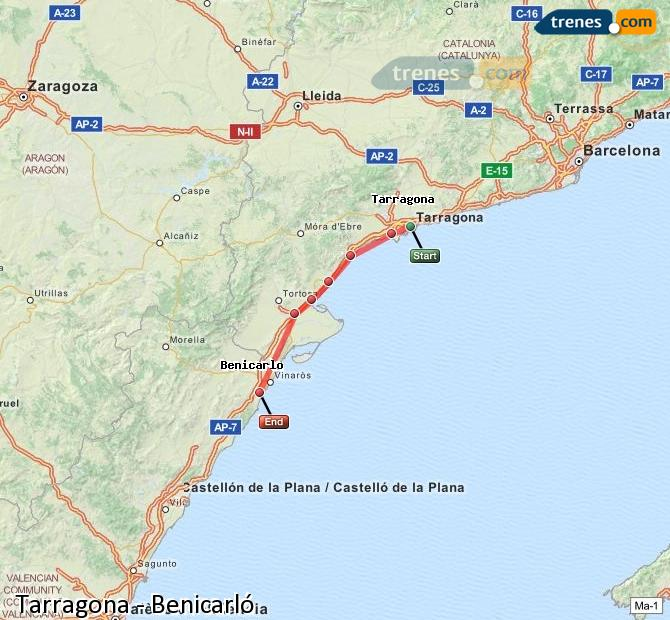 Enlarge map Trains Tarragona to Benicarló