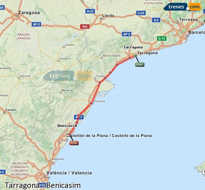 Ampliar mapa Trenes Tarragona Benicasim