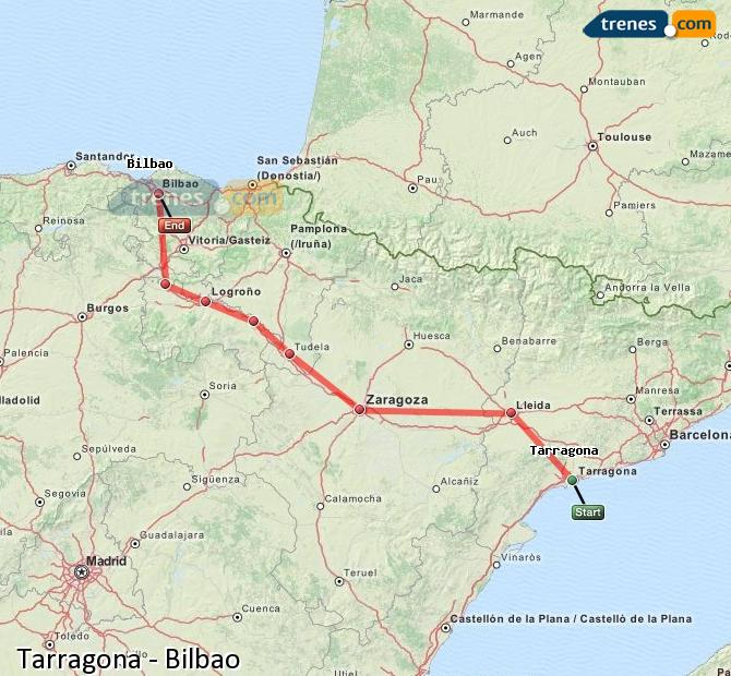 Enlarge map Trains Tarragona to Bilbao