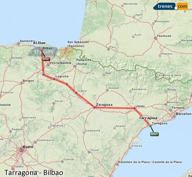 Karte vergrößern Züge Tarragona Bilbao