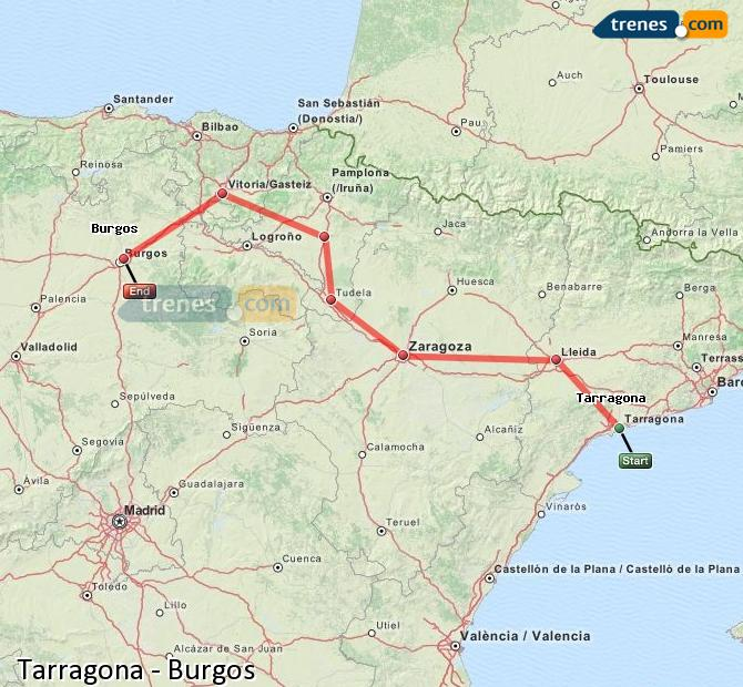 Enlarge map Trains Tarragona to Burgos