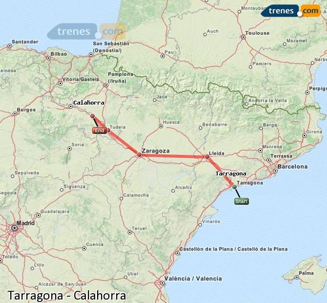 Agrandir la carte Trains Tarragone Calahorra
