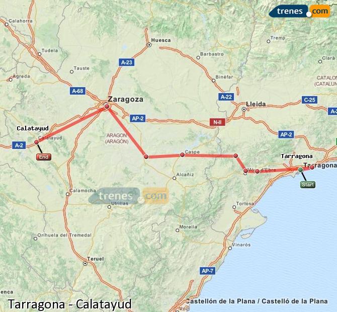 Agrandir la carte Trains Tarragone Calatayud