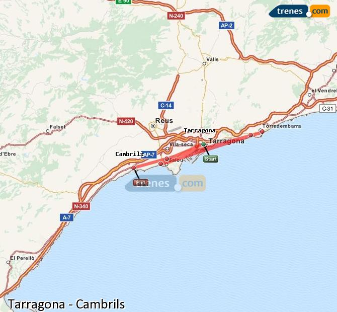 Enlarge map Trains Tarragona to Cambrils
