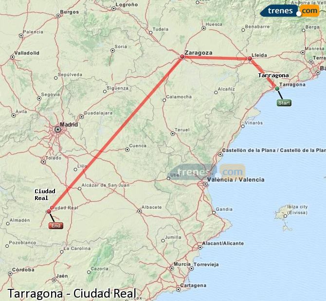 Ampliar mapa Trenes Tarragona Ciudad Real