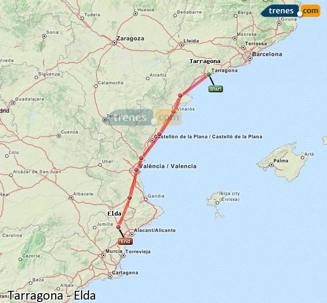 Enlarge map Trains Tarragona to Elda
