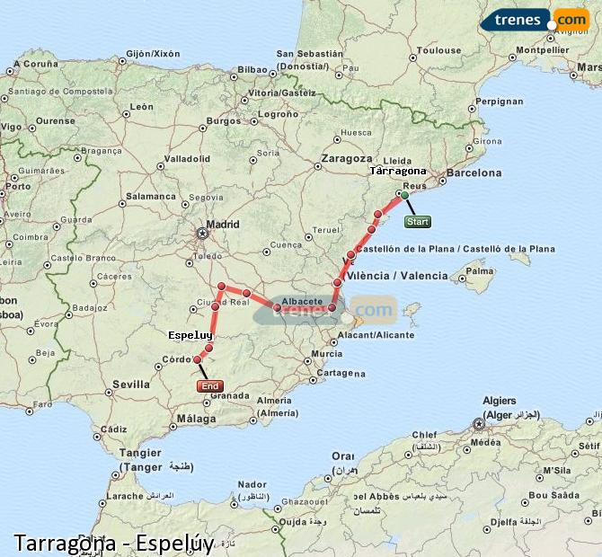 Enlarge map Trains Tarragona to Espelúy
