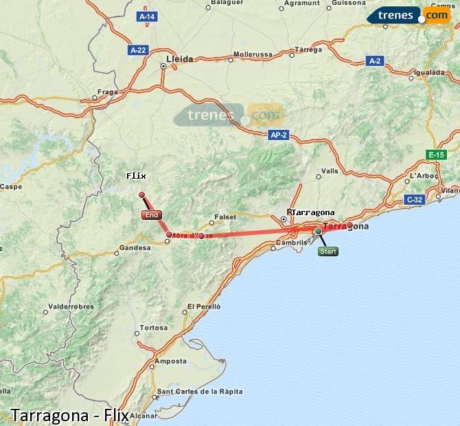 Ingrandisci la mappa Treni Tarragona Flix