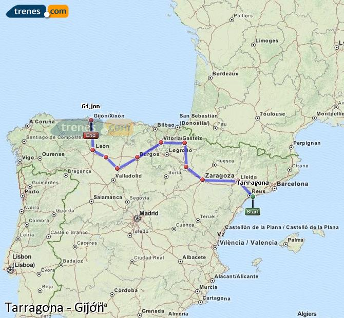 Karte vergrößern Züge Tarragona Gijón