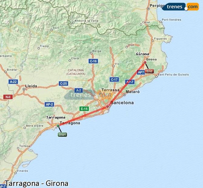 Enlarge map Trains Tarragona to Girona