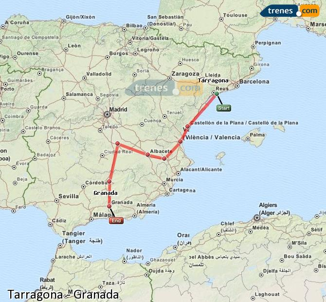 Karte vergrößern Züge Tarragona Granada