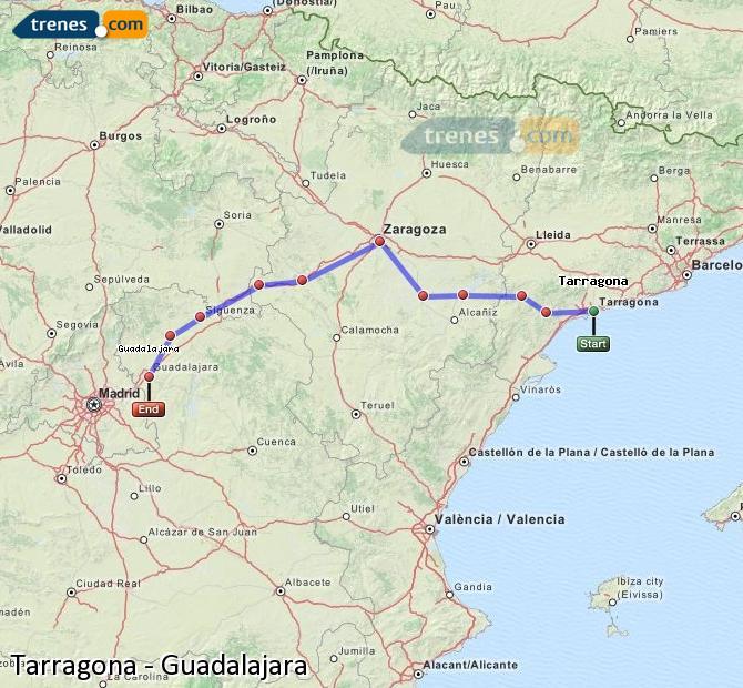 Karte vergrößern Züge Tarragona Guadalajara