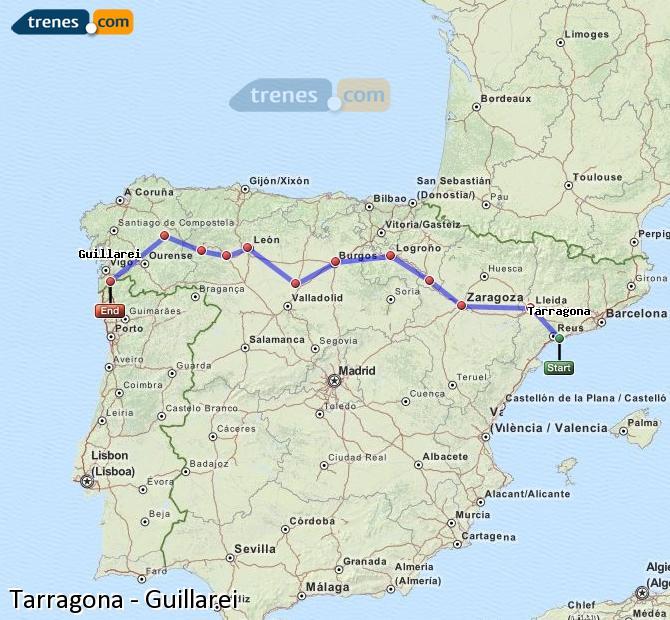 Agrandir la carte Trains Tarragone Guillarei