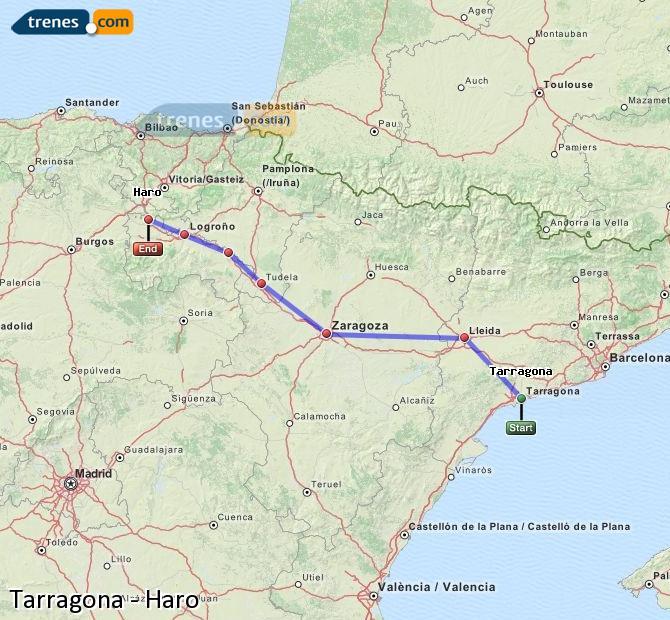 Ingrandisci la mappa Treni Tarragona Haro